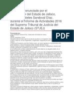 Informe de Actividades 2016 Del Supremo Tribunal de Justicia Del Estado de Jalisco
