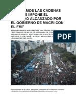 Rompamos Las Cadenas Que Nos Impone El Acuerdo Alcanzado Por El Gobierno de Macri Con El Fmi
