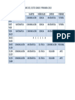 Horario Del Cuarto Grado Primaria2017