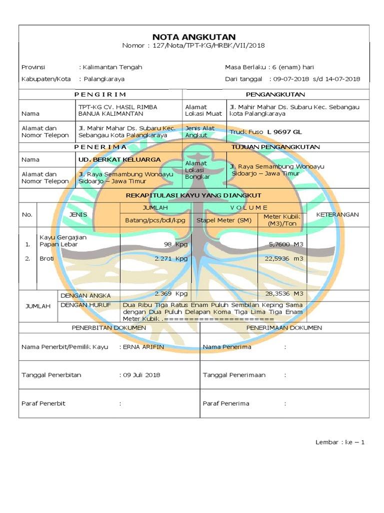 Nota Angkutan Nomor 127notatpt Kghrbkvii2018