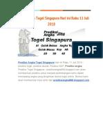 Prediksi Angka Togel Singapura Hari Ini Rabu 11 Juli 2018