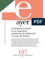 Revista Ayer. La historia reciente en la Argentina
