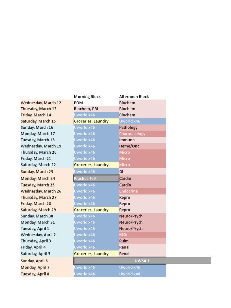 Med School Insiders – USMLE Step 1 Study Schedule | Examen
