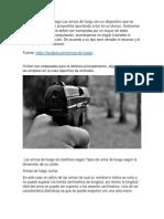 Tipos de Armas de Fuego Las Armas de Fuego Son Un Dispositivo Que Se Emplea Para Impulsar Proyectiles Apuntando a Dar en Un Blanco