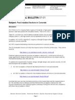 TechBulletin0701-PostInstalledAnchorsInConcrete AF 010418