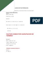 matematicas calculo factorizacion
