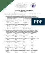 Math 10 Diagnostic Test 2018 2019