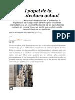 El Papel de La Arquitectura Actual