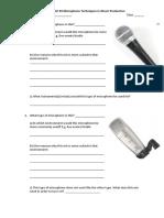 Microphones Worksheet
