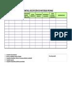 Ficha Control Recepción de Materias Primas
