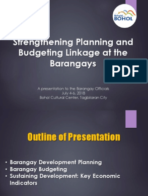 Plan-Budget Linkage at the Barangay Level | Budget | Taxes