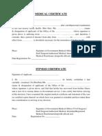 Medical Fitness Certificate MC