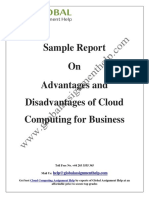 Sample Report on Advantages and Disadvantages of Cloud Computing for Business