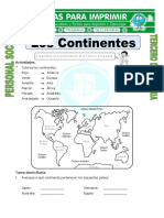 Ficha Nombre de Los Continentes Para Tercero de Primaria