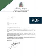 Carta de condolencias del presidente Danilo Medina a Desiree Jiménez viuda Rojas por fallecimiento de su esposo, Félix María Rojas Báez