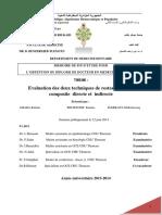 Evaluation Des Deux Techniques de Restauration Au Composite Directe Et Indirecte