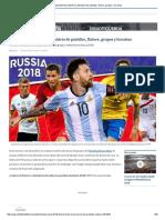 Mundial Rusia 2018 _ Calendario de Partidos, Fixture, Grupos y Horarios