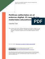 Carolina Tosi 2014. Politicas Editoriales en El Entorno Digital. El Caso de Los Materiales Educativos