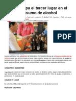 Perú Ocupa El Tercer Lugar en El Consumo de Alcohol