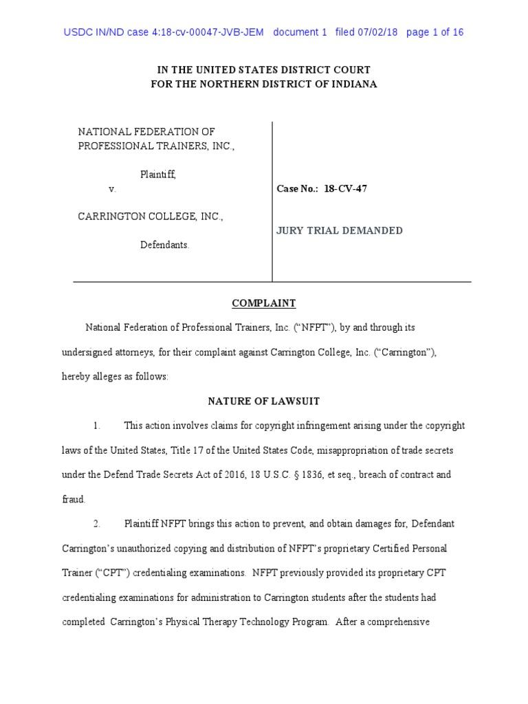 Nfpt Complaint Trade Secret Test Assessment