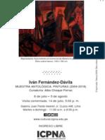 Muestra Antológica 2004-2018 Iván Fernández Dávila. Alba Choque Porras Curaduría y texto catálogo ICPNA julio 2018
