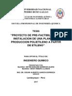 PROYECTO DE PRE-FACTIBILIDAD DE INSTALACION DE UNA PLANTA DE PRODUCCION POLIETILENO A PARTIR DE ETILENO
