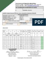 Certificado de Calibração de Medidor de Vazão