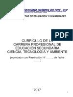 MALLA CURRICULAR Educ Secund. Ciencia Tecnología y Ambiente UCP FEH
