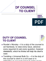 Duty of Counsel to Client