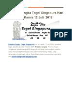 Prediksi Angka Togel Singapura Hari Ini Kamis 12 Juli 2018