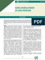 Emerging World Order SCO and Pakistan