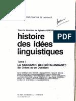 Histoire Des Idees Linguistiques