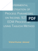 Experimental Investigation of Process Parameters on Inconel 925 for EDM Process by using Taguchi Method
