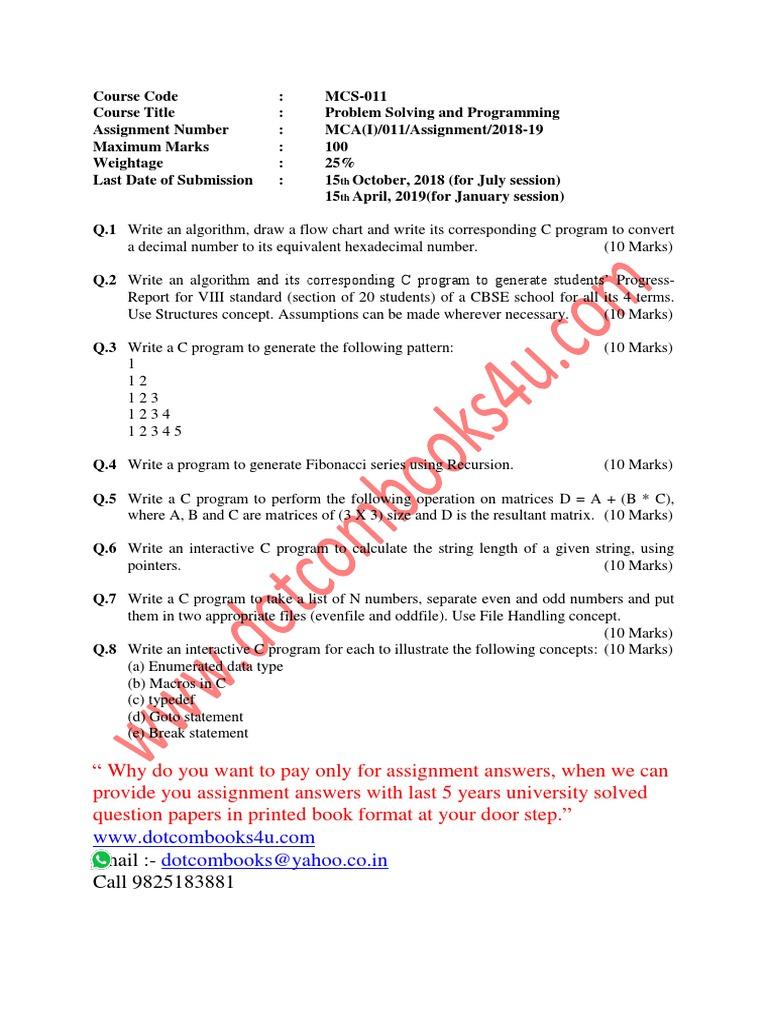BCA 2nd Sem Ass 2018-19 | Parameter (Computer Programming