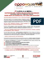 2410561-2018!07!12 Comunicado CCOO-Correos Turno Sabados NO Obligatorio