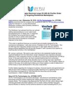 UV Flu Technologies Receives Large UV