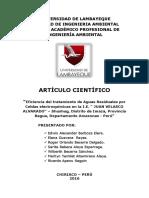 Eficiencia Del Tratamiento de Aguas Residuales Por Celdas Electroquímicas en La I.E. JUAN VELASCO ALVARADO – Shushug, Distrito de Imaza, Provincia Bagua, Dpto Amazonas -. 8 Publicado