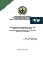 La Declaración Del Coimputado en El Proceso Penal