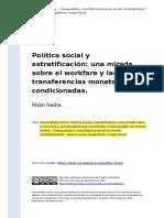 Rizzo Nadia (2013). Politica Social y Estratificacion Una Mirada Sobre El Workfare y Las Transferencias Monetarias Condicionadas