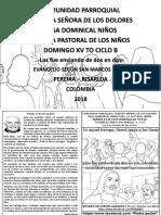 HOJITA EVANGELIO NIÑOS DOMINGO XV TO B 18 Bn