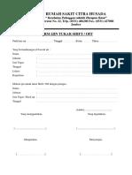 Form Ijin Tukar Shift