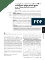 2012, MR Assessment of Lumbar Intervertebral Disc Degeneration and Age Related Changes Apparent Diffusion Coefficient Versus T2 Quantitation