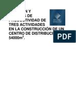 Medición Análisis Productividad Construcción Centro Distribución
