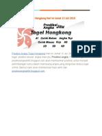 Prediksi Angka Togel Hongkong Hari Ini Jumat 13 Juli 2018