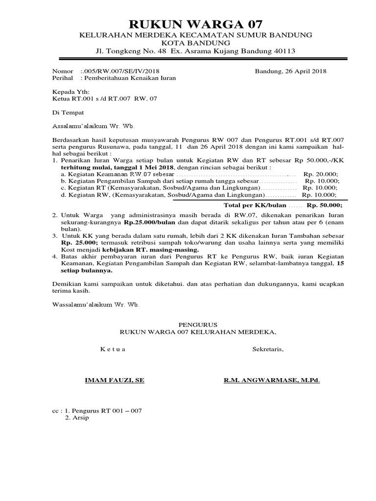 By B Hints Contoh Surat Edaran Rt Kenaikan Iuran
