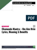 Chamunda Mantra - Om Aim Hrim Klim_ Lyrics, Meaning & Benefits