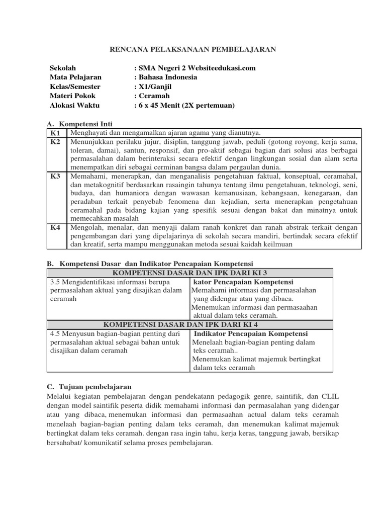 Rpp B Indo Kelas 11 Rev 2018 3 4 Dan 4 5 Teks Ceramah