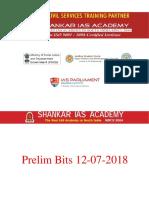 Prelim Bits Current Affairs  12-07-2018