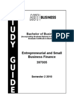 Study Guide Entrepreneurial and Small Business Finance 397005 Semester 2_2010