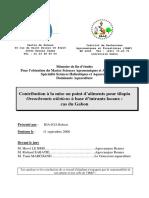 Contribution à La Mise Au Point d Aliments Pour Tilapia Oreochromis Niloticus à Base d Intrants Locaux _ Cas Du Gabon
